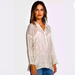 Johnny Was NWT Cream Embroidered Blouse Antik